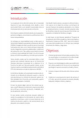 La actualización de la oferta académica en la UNCUYO (2012)