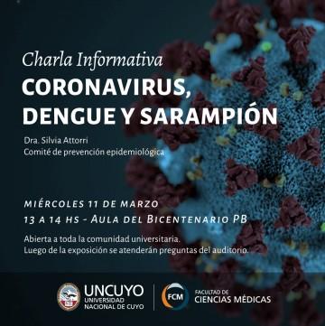 En una charla, informarán sobre Coronavirus, Dengue y Sarampión