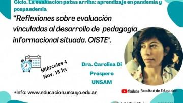 Antropóloga social reflexionará sobre la evaluación vinculada al desarrollo de pedagogía informacional situada