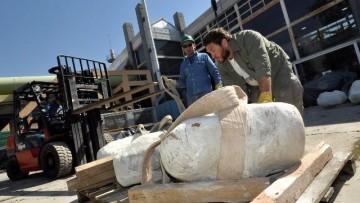 Trasladaron al laboratorio de la UNCuyo restos fósiles de dinosaurios