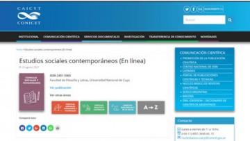 Revista Estudios sociales contemporáneos ingresó al Núcleo Básico del CONICET