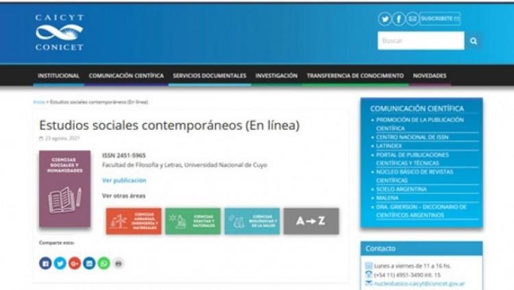 imagen que ilustra noticia Revista Estudios sociales contemporáneos ingresó al Núcleo Básico ...