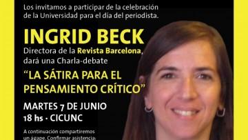 Ingrid Beck en la celebración del día del periodista en la UNCUYO