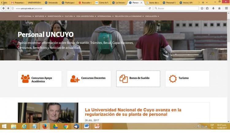 Personal de la UNCuyo ya puede consultar su bono de sueldo digital