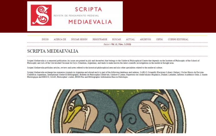 Revista sobre pensamiento medieval ingresó a la base de datos Scopus